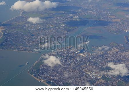 Aerial view of Portsmouth harbour in Hampshire England