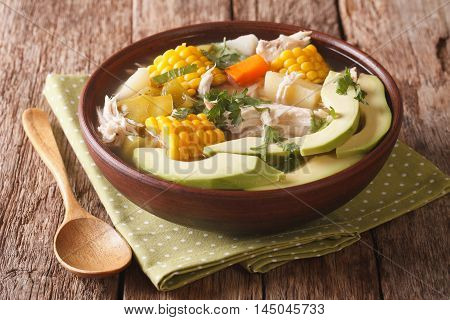 Colombian Cuisine: Ajiaco Soup With Chicken And Vegetables Closeup. Horizontal