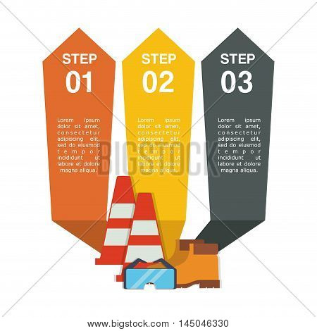 infographic cone glasses boots industrial security safety protection icon set. Colorful and flat design. Vector illustration