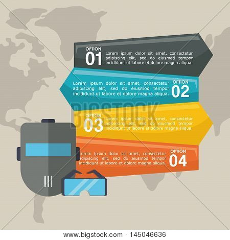 infographic mask glasses industrial security safety protection icon set. Colorful and flat design. Vector illustration
