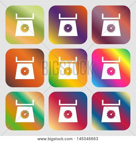 Kitchen Scales Icon Sign . Nine Buttons With Bright Gradients For Beautiful Design. Vector