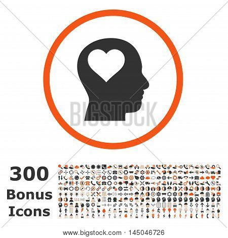 Lover Head rounded icon with 300 bonus icons. Vector illustration style is flat iconic bicolor symbols, orange and gray colors, white background.