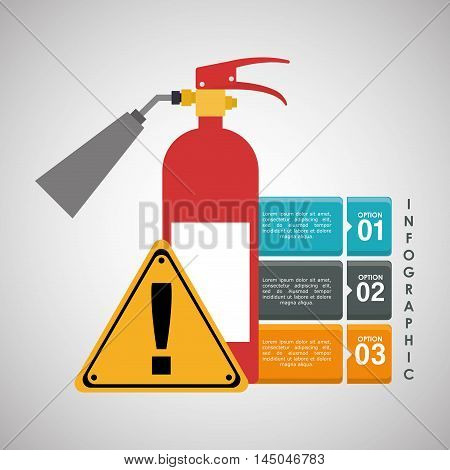 infographic extinguisher road sign industrial security safety protection icon set. Colorful and flat design. Vector illustration
