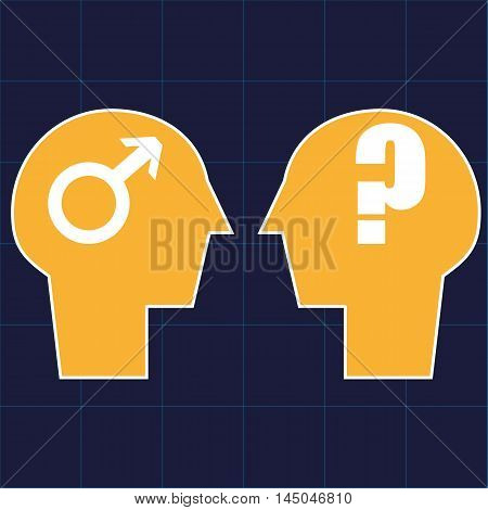 Two heads in profile facing each other with the male gender symbol in one and a question mark in the other as a metaphor for gender identification issues