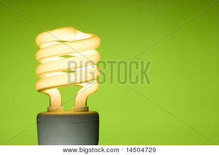 Energy saving fluorescent light bulb on green background. Space for text.