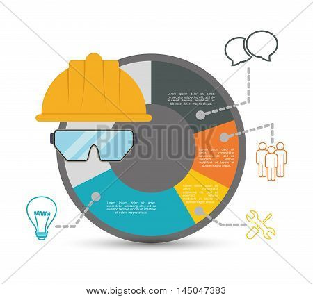 infographic helmet glasses industrial security safety protection icon set. Colorful and flat design. Vector illustration