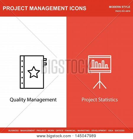 Set Of Project Management Icons On Quality Management And Statistics. Project Management Icons Can B