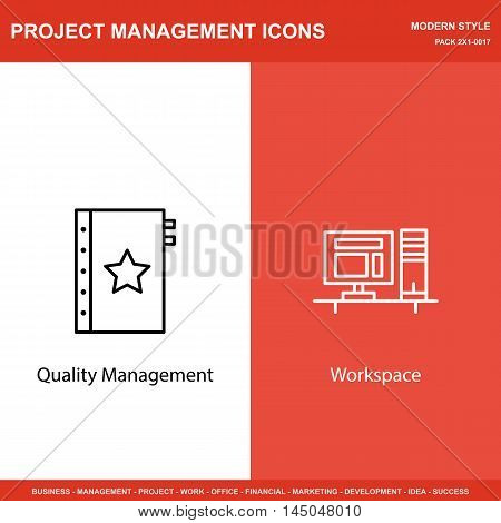Set Of Project Management Icons On Quality Management And Workspace. Project Management Icons Can Be