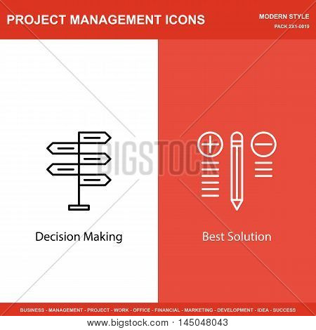 Set Of Project Management Icons On Decision Making And Best Solution. Project Management Icons Can B