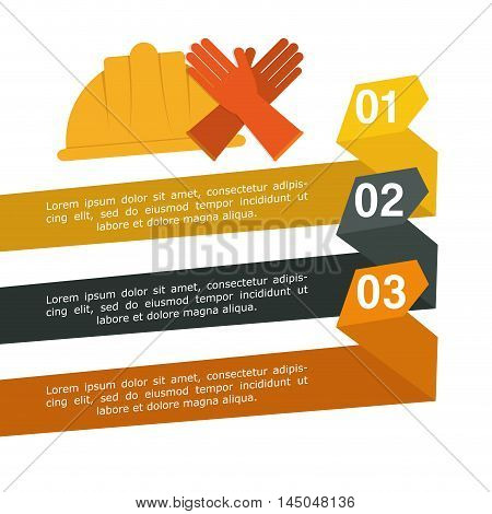 infographic helmet gloves industrial security safety protection icon set. Colorful and flat design. Vector illustration