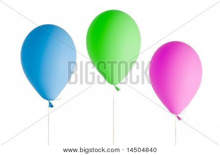 Three coloured party helium balloons floating isolated on white background