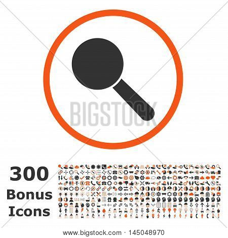 Search Tool rounded icon with 300 bonus icons. Vector illustration style is flat iconic bicolor symbols, orange and gray colors, white background.
