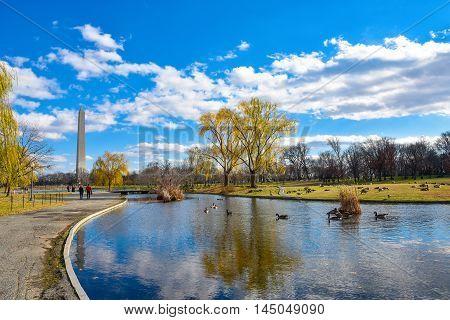 Washington Monument from Constitution Gardens - Washington DC, USA.
