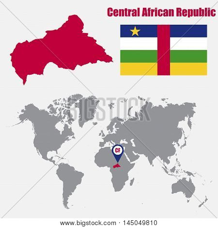 Central African Republic map on a world map with flag and map pointer. Vector illustration