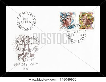 SWITZERLAND -CIRCA 1986 : Cancelled First Day Cover letter printed by Switzerland, that shows Europa CEPT stamps.