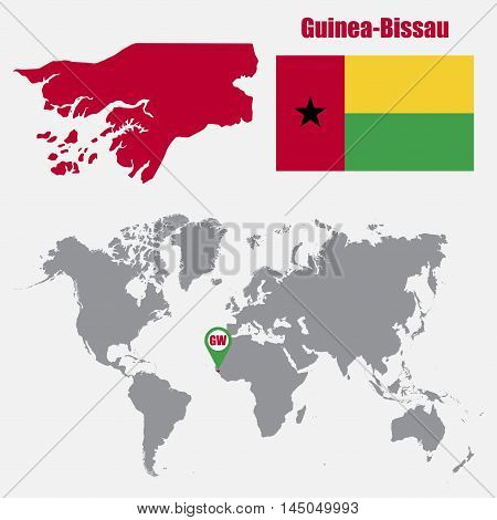 Guinea-Bissau map on a world map with flag and map pointer. Vector illustration