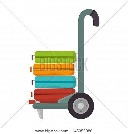 handcart cargo suitcase luggage baggage torism equipment vector illustration