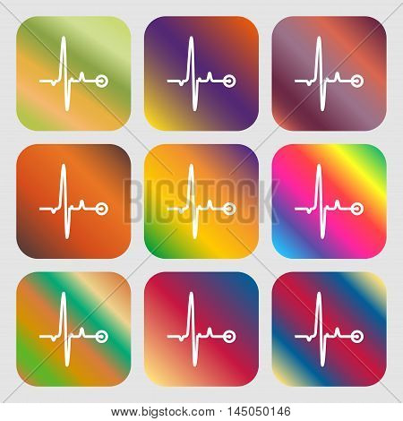 Heartbeat Sign Icon . Nine Buttons With Bright Gradients For Beautiful Design. Vector