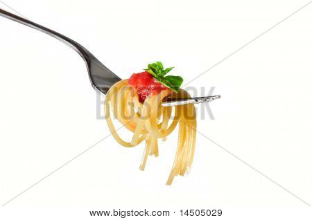 Spaghetti pasta with tomato and basil on fork isolated on white background. Fine Italian food. Professional studio image