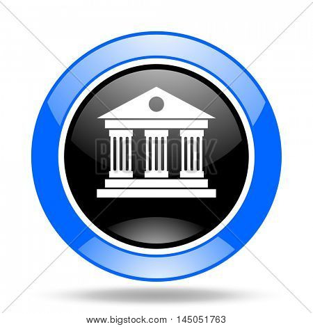 museum round glossy blue and black web icon