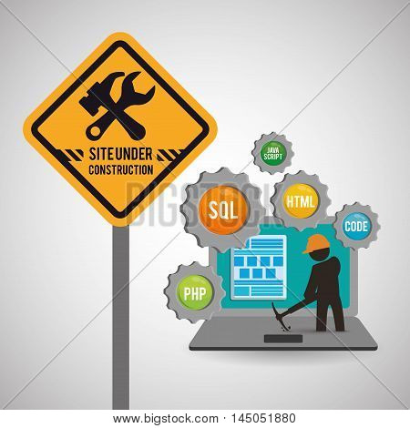 laptop gears constructor tools road sign under construction site web online digital icon set. Colorful and flat design. Vector illustration