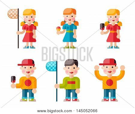 Set of happy children. Funny kids with ice cream and a butterfly net. Boys and girls in flat style on isolated background
