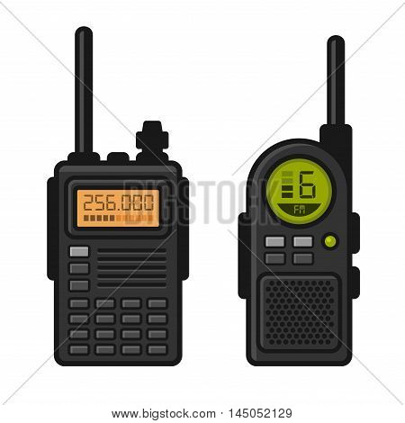 Radio Set Transceiver with Antenna Receiver. Vector illustration