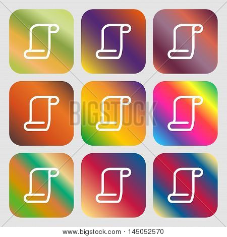 Paper Scroll Icon. Nine Buttons With Bright Gradients For Beautiful Design. Vector