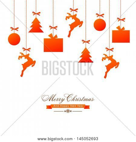 Glossy hanging xmas ornaments as bauble, reindeer, tree and gifts, Elegant festive background, Beautiful Greeting Card for Merry Christmas and Happy New Year celebration.