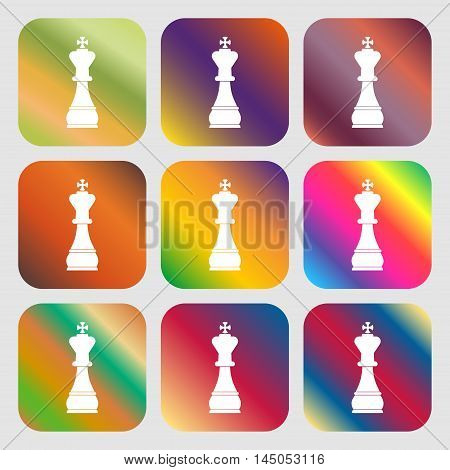 Chess King Sign Icon . Nine Buttons With Bright Gradients For Beautiful Design. Vector