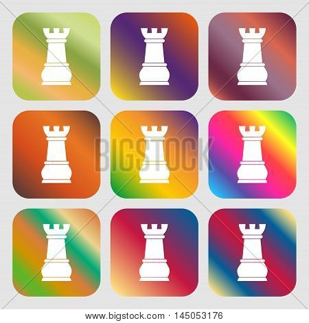 Chess Rook Sign Icon . Nine Buttons With Bright Gradients For Beautiful Design. Vector