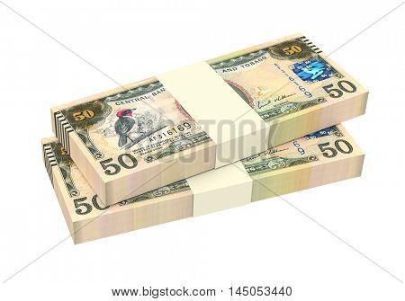 Trinidad and Tobago dollar bills isolated on white background. 3D illustration.