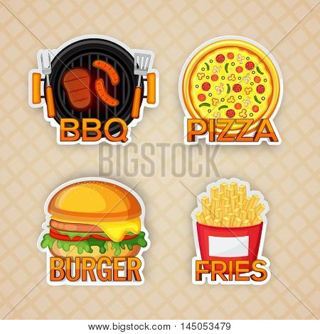 Set of four Sticker, Tag or Label design of Fast Foods, BBQ, Pizza, Burger and Fries typographic elements, Creative vector illustration.