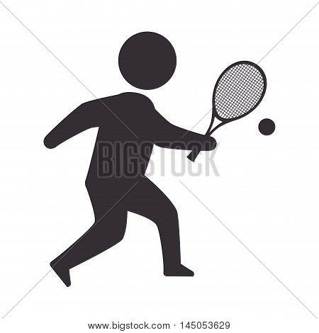 player man  tennis sport game moving posture racket vector illustration