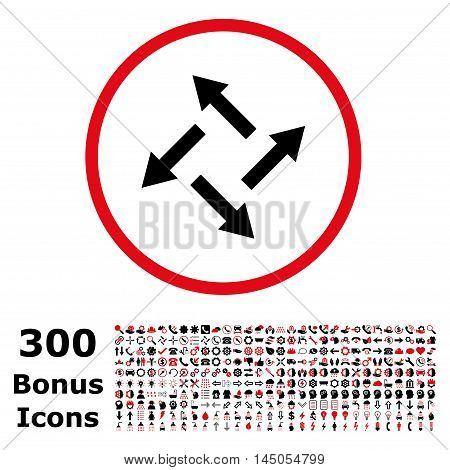 Centrifugal Arrows rounded icon with 300 bonus icons. Vector illustration style is flat iconic bicolor symbols, intensive red and black colors, white background.