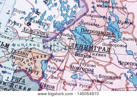 Leningrad on old USSR map. Selective focus.