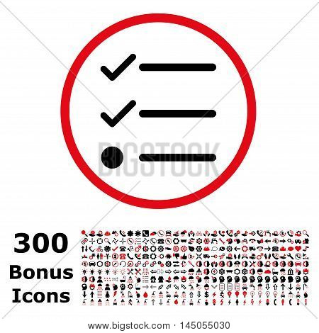 Checklist rounded icon with 300 bonus icons. Vector illustration style is flat iconic bicolor symbols, intensive red and black colors, white background.