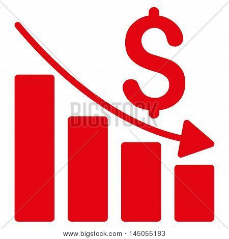 Sales Crisis Chart icon. Vector style is flat iconic symbol with rounded angles, red color, white background.