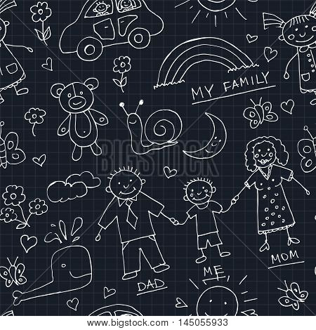 Kids Drawings doodle seamless pattern. Vintage illustration for identity, design, decoration, packages product and interior decorating
