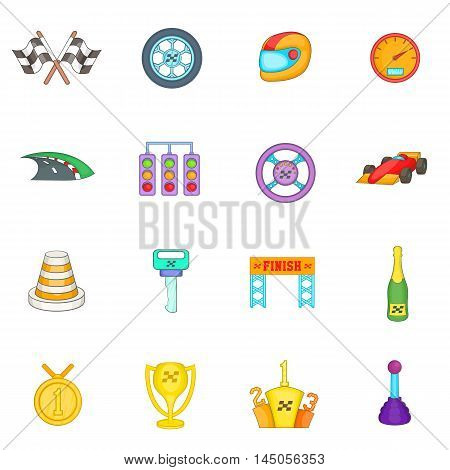 Car racing icons set in cartoon style. Auto sport set collection vector illustration