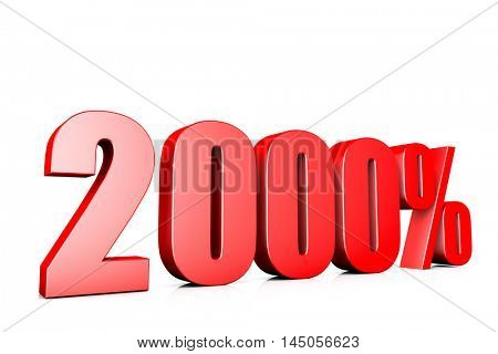 3d illustration sign of 2000%