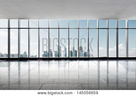 cityscape and skyline of chongqing from glass window