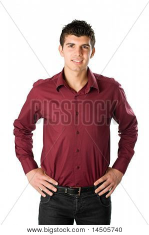 Smiling young man looking at camera isolated on white background
