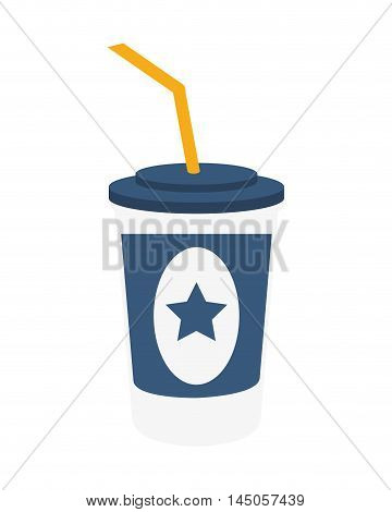 soda coke star cinema movie film entertainment icon. Flat and isolated design. Vector illustration