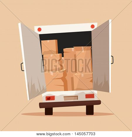 Moving with boxes. Boxes with things. Transport company. Service. Moving van. Cartoon vector illustration