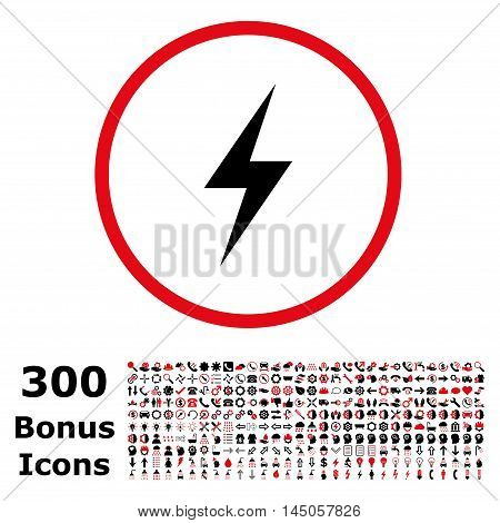 Electricity rounded icon with 300 bonus icons. Vector illustration style is flat iconic bicolor symbols, intensive red and black colors, white background.