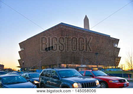 Washington DC, December 19, 2015: View from street of Smithsonian National Museum of African American History and Culture (NMAAHC).