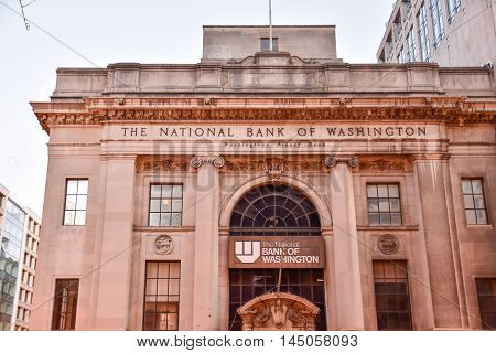 Washington DC, December 19, 2015: Front view of The National Bank Of Washington DC, USA.