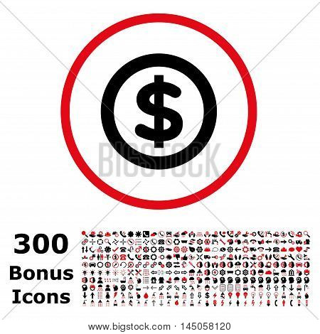 Finance rounded icon with 300 bonus icons. Vector illustration style is flat iconic bicolor symbols, intensive red and black colors, white background.