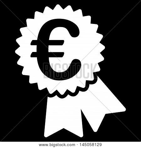 Euro Featured Price Tag icon. Vector style is flat iconic symbol, white color, black background.